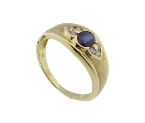 Christian gouden ring met saffier en Diamant