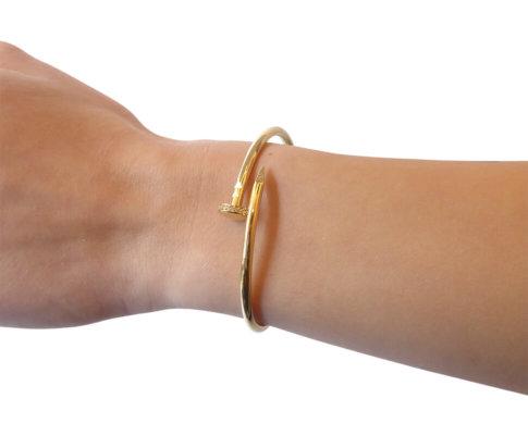 Geel gouden zirkonia slavenarmband spijkermodel