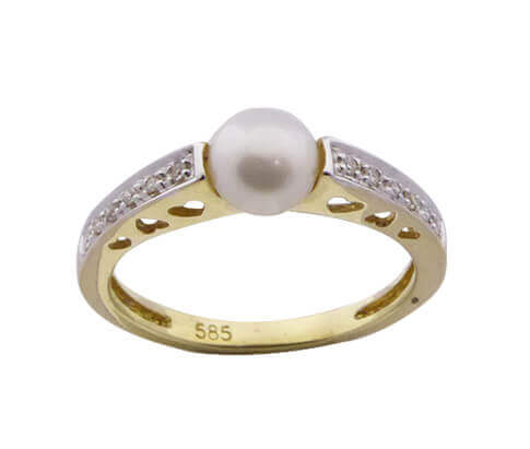Christian harten parel ring met diamanten