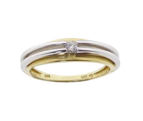 Bicolor gouden ring met solitair briljant