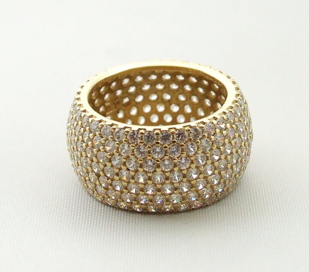 14 karaat geel gouden ring met zirkonia