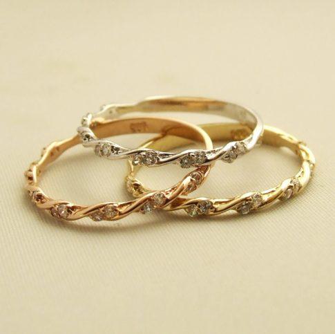Gouden ringen set met zirkonia