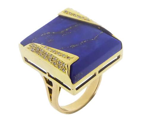 18 karaat gouden briljanten en lapis lazuli ring