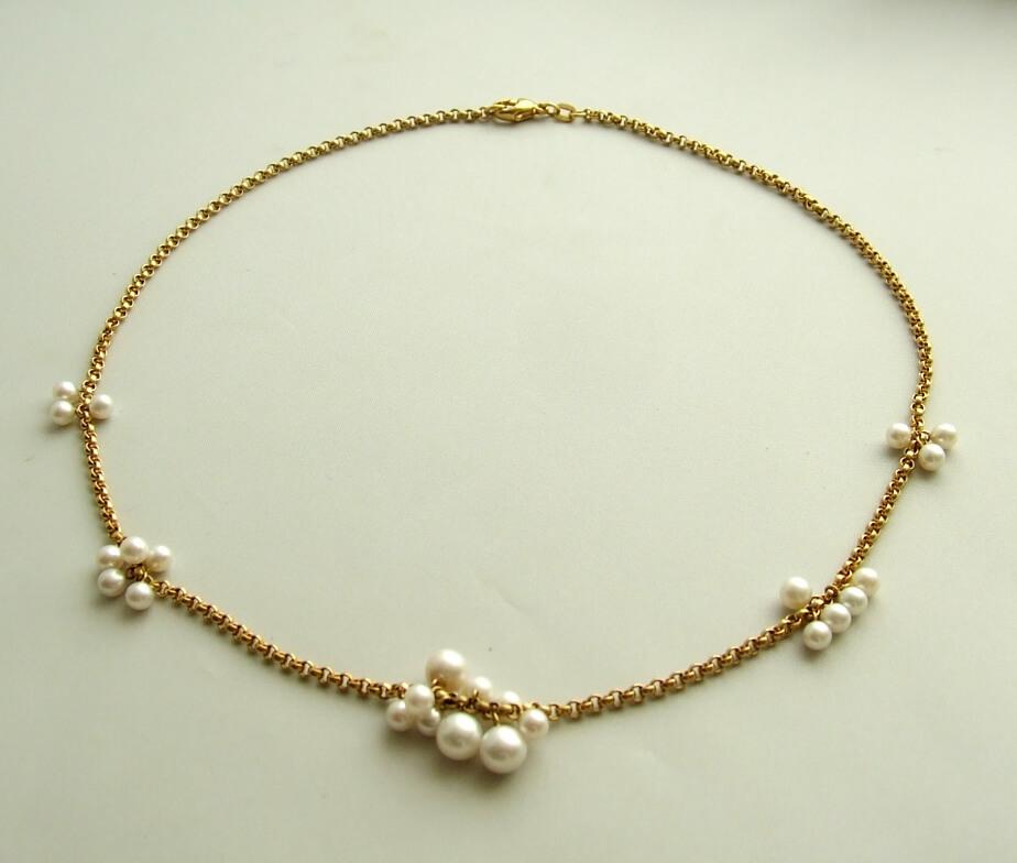 Geel gouden parel collier