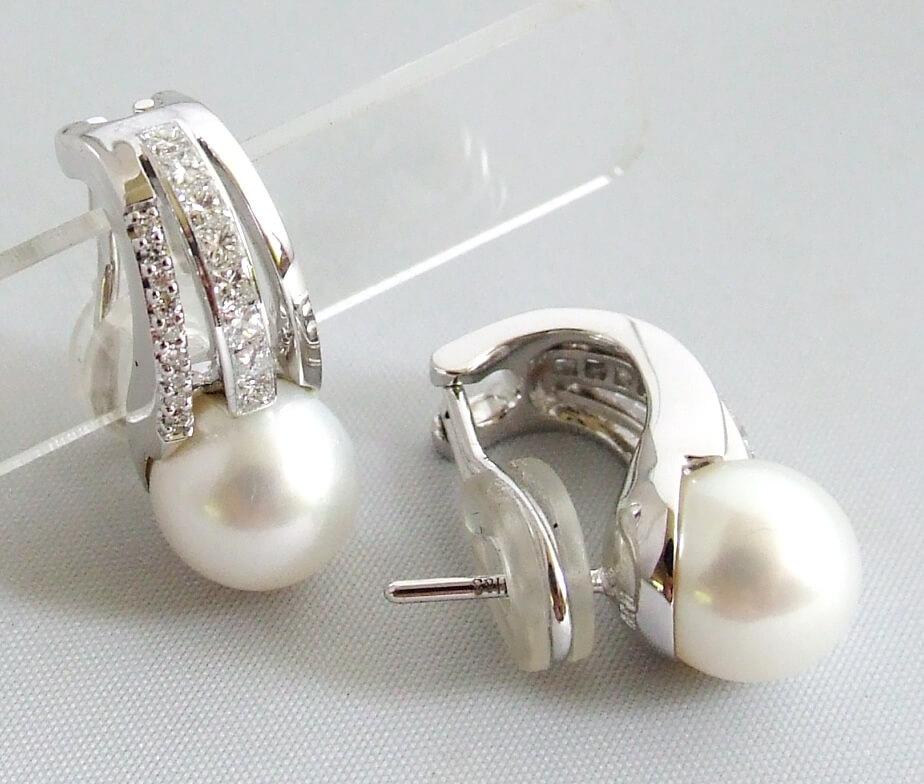 18 karaat oorbellen met parel en diamanten