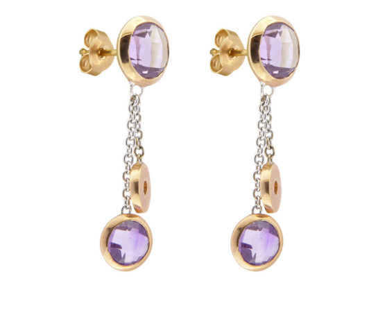 Yellow gold earrings with amethyst