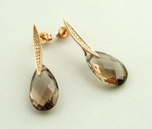 Gouden oorbellen met rookkwarts en diamant