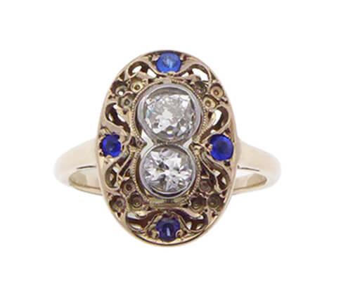 18 karaat gouden saffieren en diamanten ring