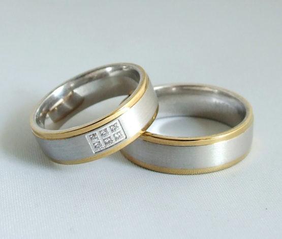 Bicolor Christian trouwringen met diamanten