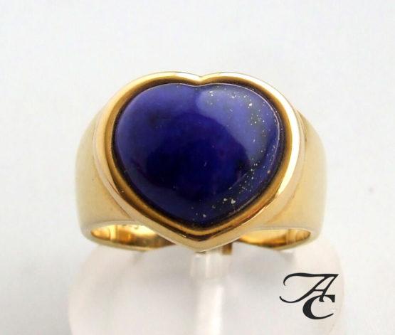 Gouden harten ring met Lapis Lazuli