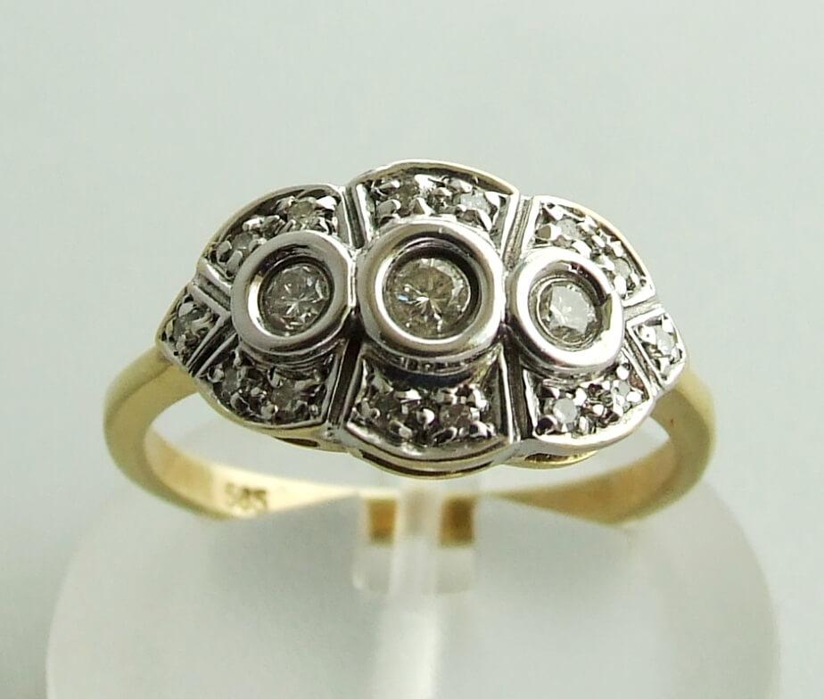 Gouden bicolor ring met briljanten