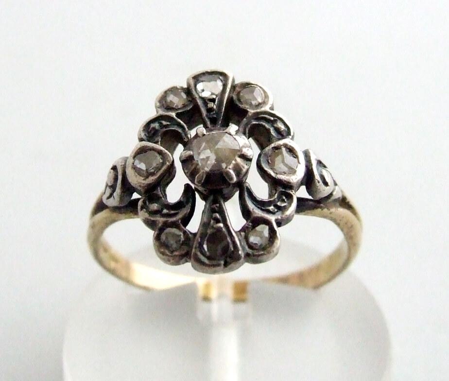 Occasion gouden ring met roosdiamanten