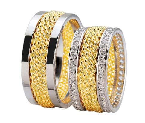 Bicolor diamanten trouwringen
