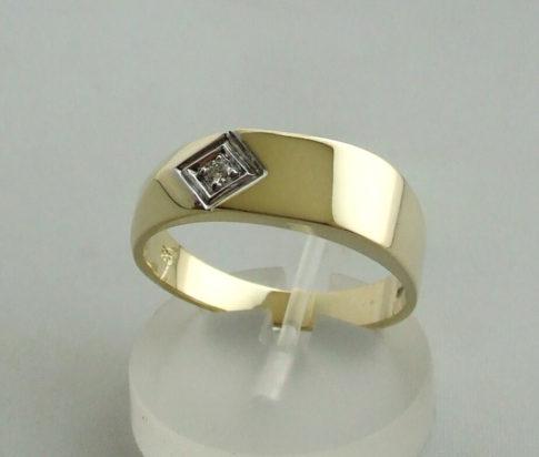 Gouden bicolor ring met briljant