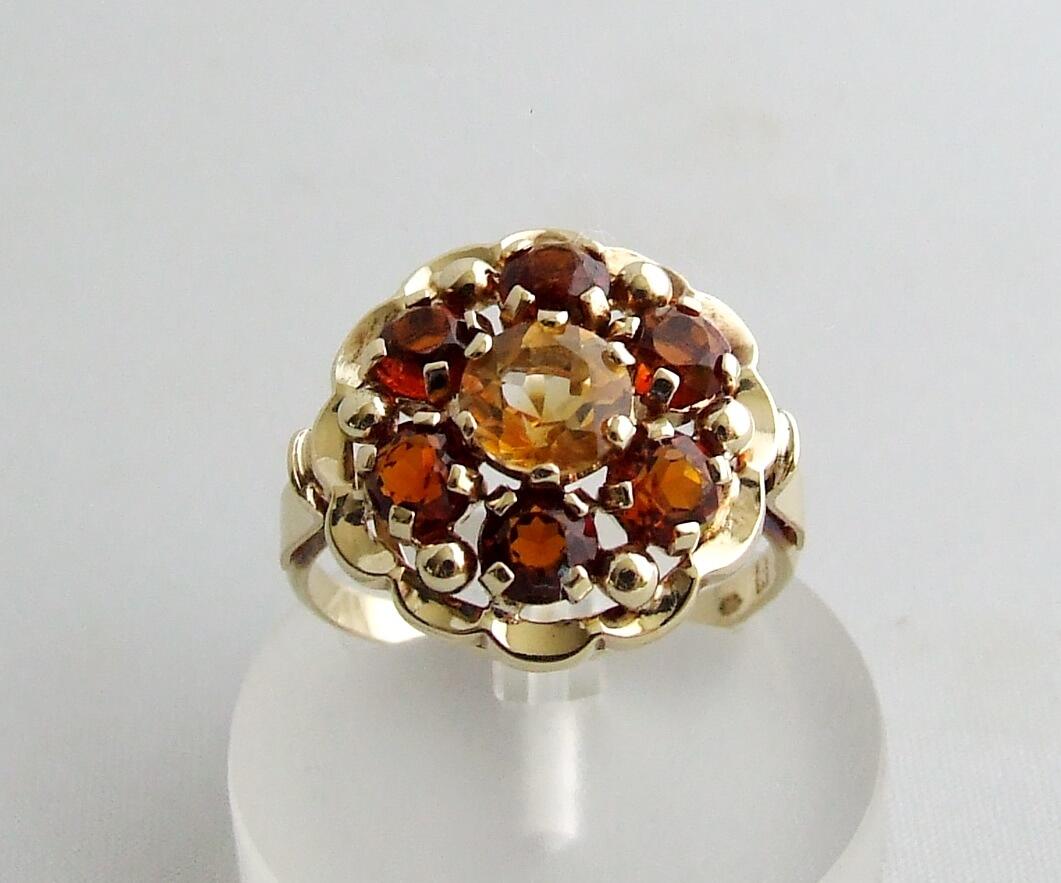 Gouden ring met citrien en granaat