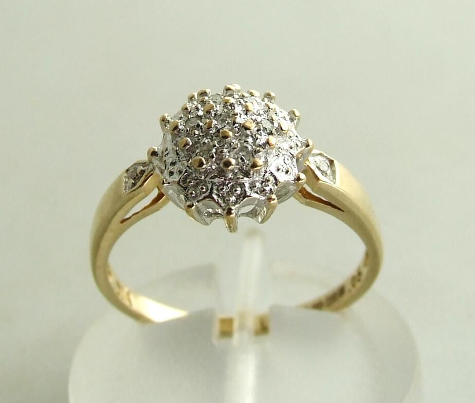 Geel gouden occasion ring met diamanten