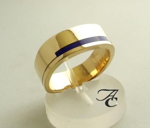 Geel gouden lapis lazuli ring