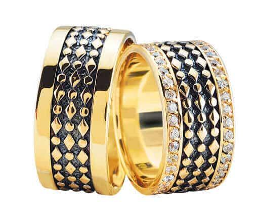 Gouden trouwringen met 2 rijen diamanten