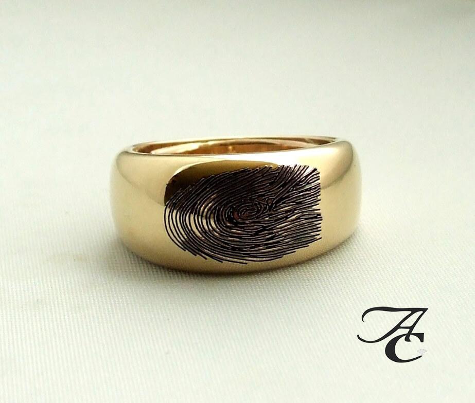 Geel gouden fingerprint ring