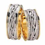 Gevlochten trouwringen met diamanten