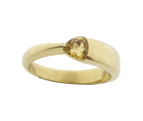 Gouden ring met citrien