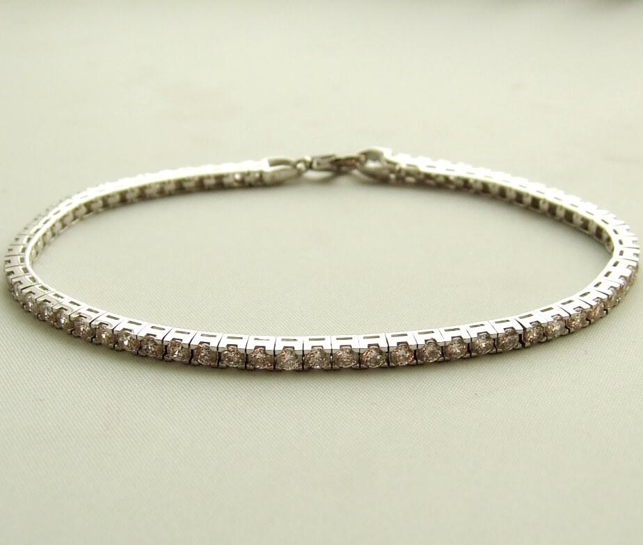 Wit gouden armband met zirkonia