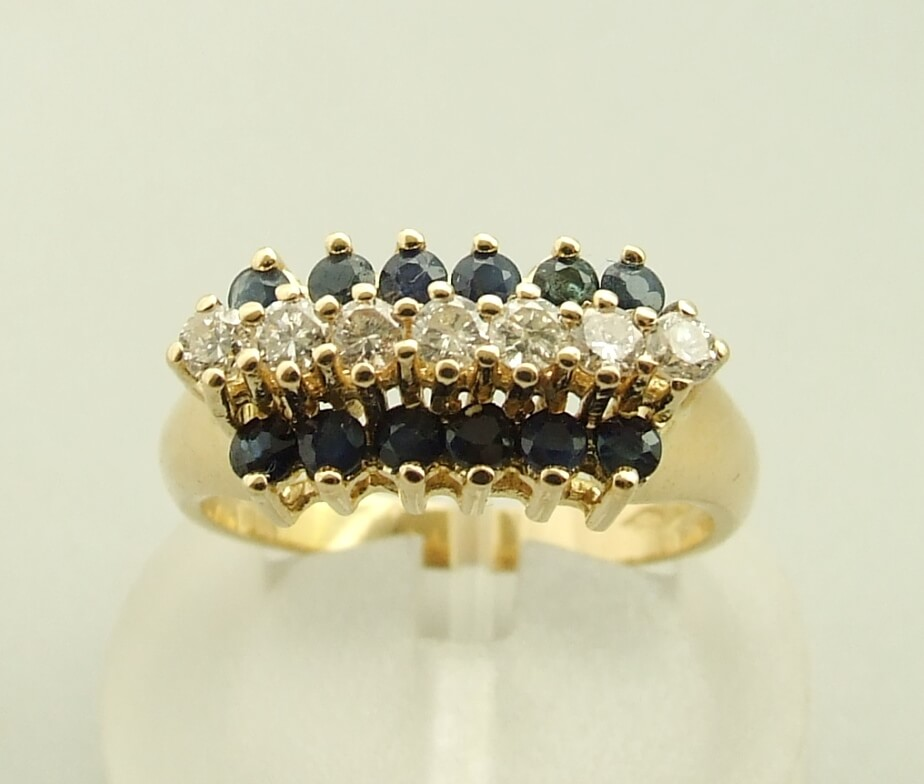 Occasion gouden diamanten en saffieren ring