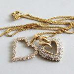 Gouden harten hangers met diamanten