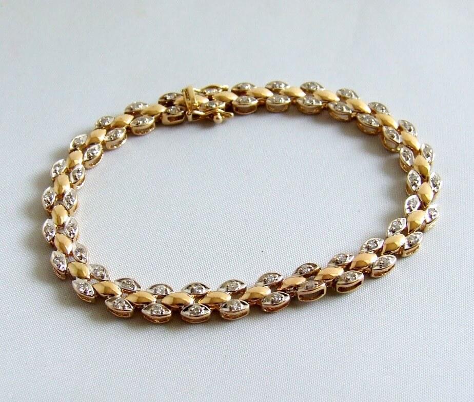 Bicolor gouden armband met diamanten