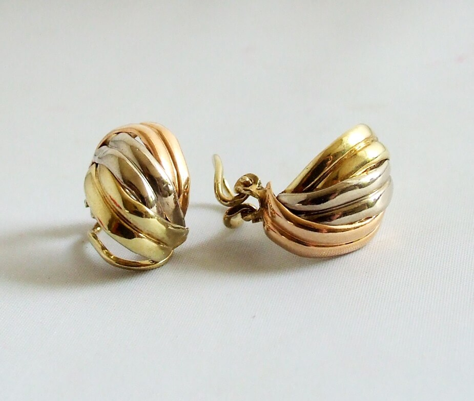 Gouden tricolor oorclips