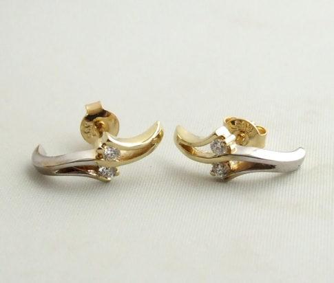 Christian bicolor gouden oorbellen met diamant