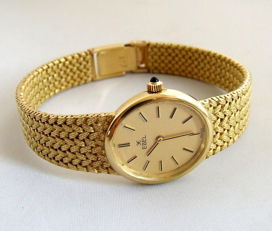 Geel gouden Ebel horloge