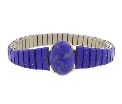 Stalen en gouden armband met lapis lazuli