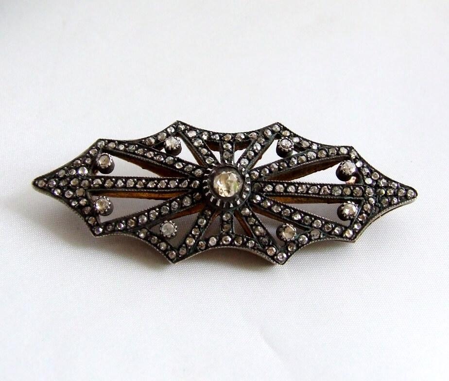 Antieke zilver op goud broche met roosdiamant