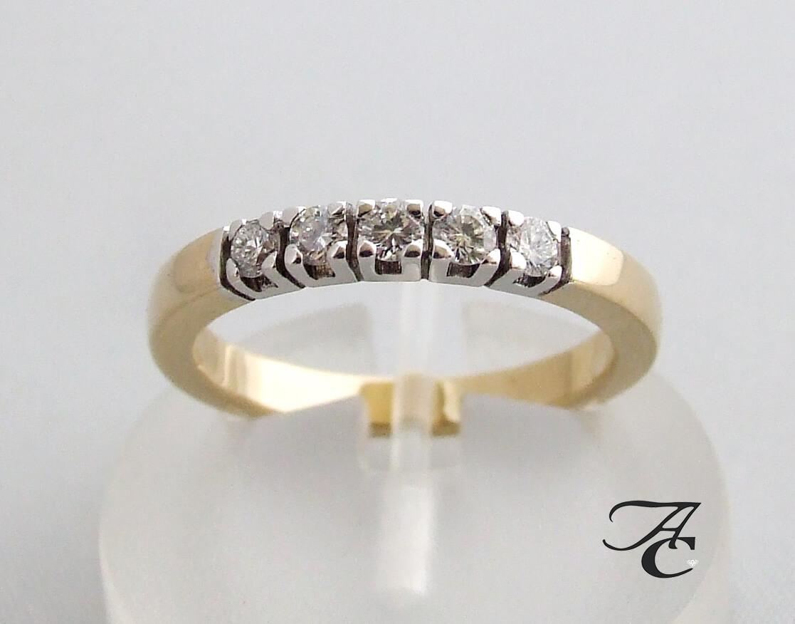 Gouden alliance ring met briljant