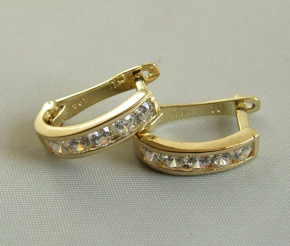 Gouden Christian oorbellen met zirkonia