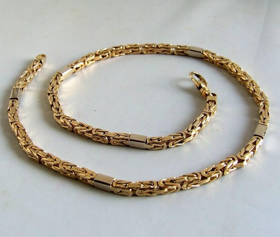 14 karaat geel- en wit gouden koningsketting