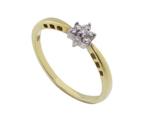 Occasion geel gouden ring met diamant