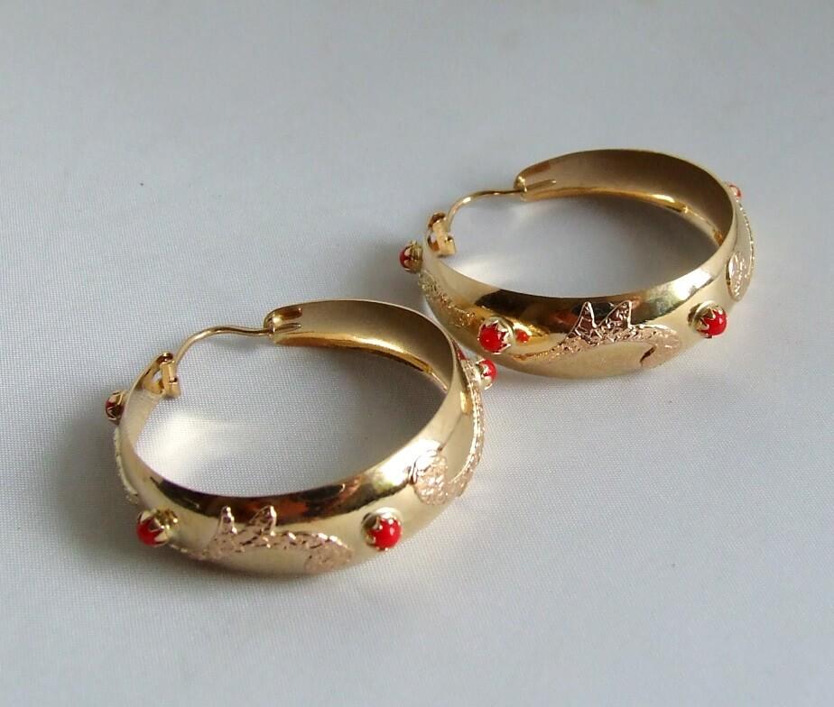 Gouden bloedkoraal oorbellen