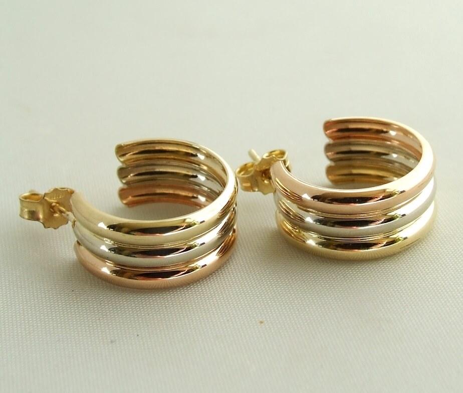 Gouden tricolor oorbellen