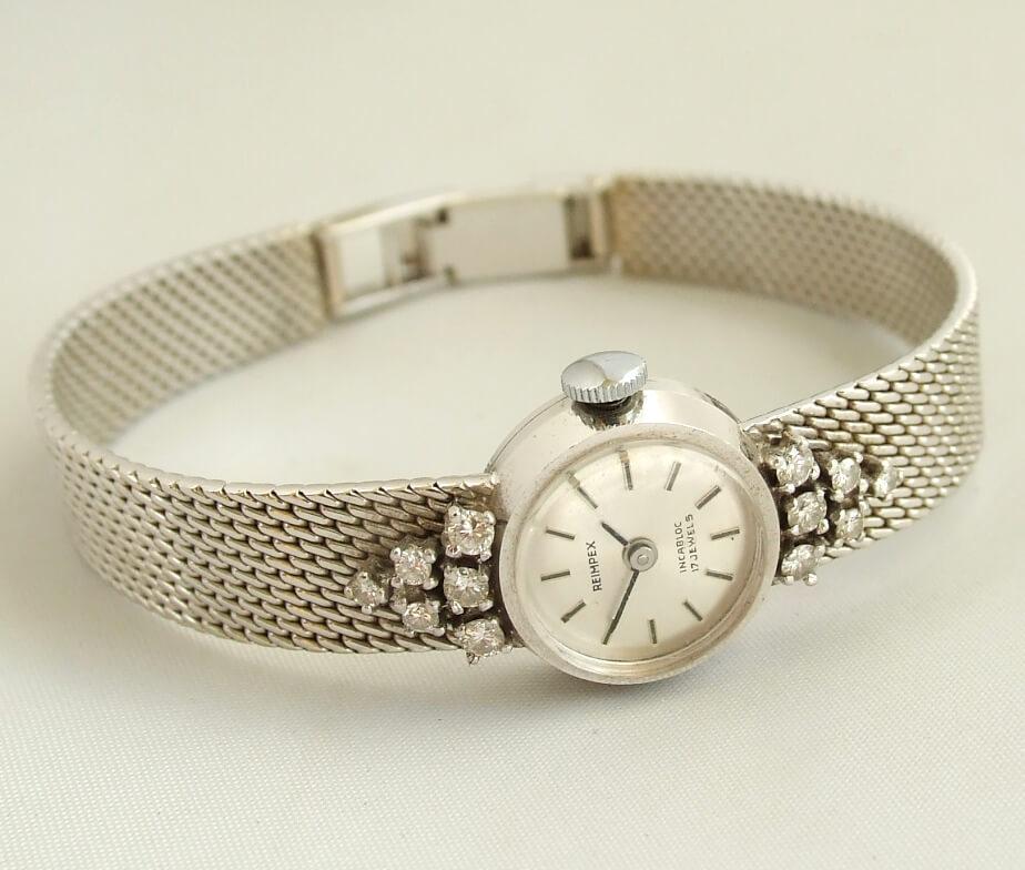 Wit gouden Reimpex horloge met briljanten