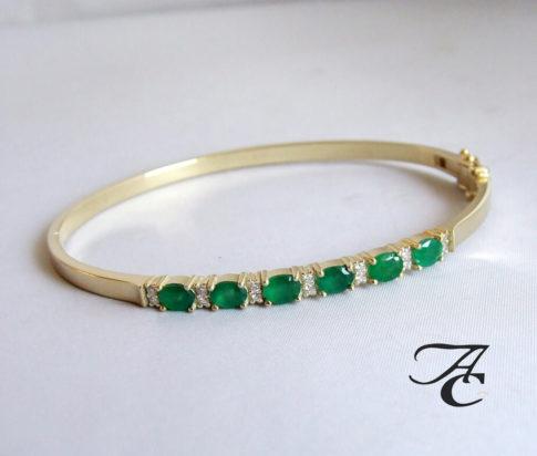 Gouden armband met smaragd en diamanten
