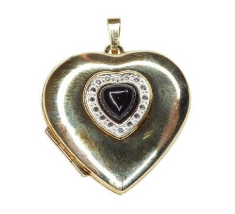 Gouden harten medaillon met onyx