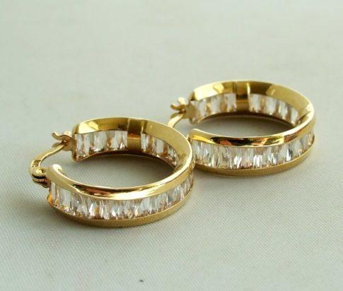 Geel gouden zirkonia oorbellen