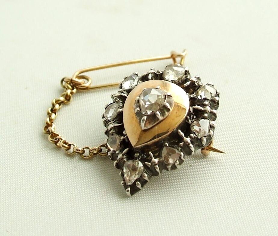 Antieke broche met diamant
