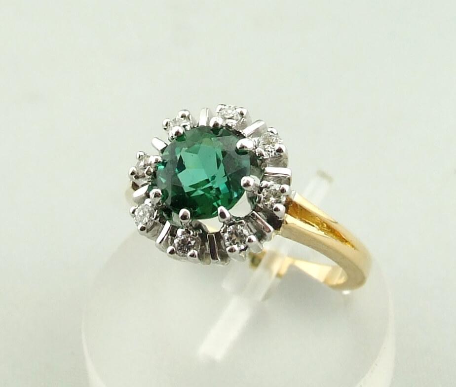 Bicolor ring met diamant en synthetische toermalijn