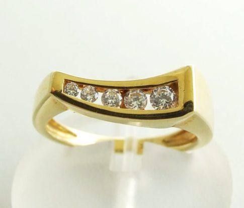 Geel gouden occasion ring met zirkonia