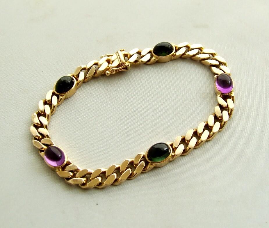 Gouden armband met amethyst en toermalijn