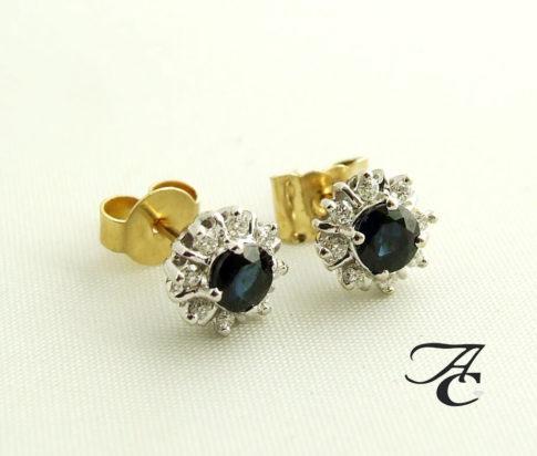 Bicolor gouden oorbellen met saffier en diamant