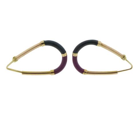 Gouden emaille oorbellen